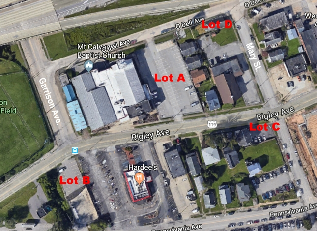 Aerial view of the Parking Lots (A, B, C, and D)
